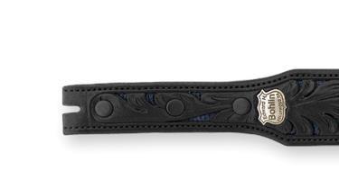 Bohlin Made Hand Tooled Navy Lizard and Black Alligator Belt