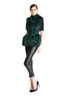 Bella Fare Emerald Fox Vest With Attached Leather Belt