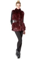 Augustina's Wine Fox Vest With Attached Leather Belt