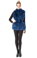 Bella Fare Blue Fox Vest With Attached Leather Belt