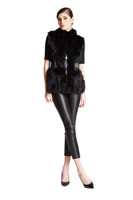 Bella Fare Black Fox Vest With Attached Leather Belt