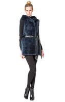 Augustina's Blue Rex Rabbit Fur Hooded Vest with Belt