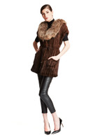 Bella Fare Knitted Mink Long Vest With Raccoon Collar