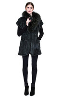 Bella Fare Emerald Knitted Mink Long Vest With Raccoon Collar