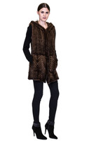 Bella Fare Brown Knitted Mink Vest With Hood