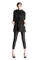 Augustina's Chevron Knit Mink Fur Vest with Hood in Black