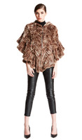 Bella Fare Brown Knitted Rex Poncho