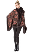 Bella Fare Silk Knit Cape With Fox Trim