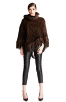 Bella Fare Brown Knitted Mink Poncho With Fringes