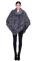 Bella Fare Grey Knitted Mink Poncho With Fringes