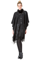 Bella Fare Cashmere Wool Cape With Silk Floral Details And Mink Collar
