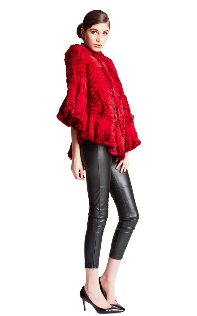 84f4d02d1 Bella Fare Red Herringbone Knit Mink Poncho (BFPONCHO7)