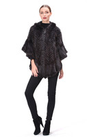 Bella Fare Black Herringbone Knit Mink Poncho