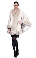 Belle Fare Cream Cashmere Cape With Fox Fur With Linning