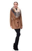 Belle Fare Cashmere Coat With Wide Fox Shawl Collar