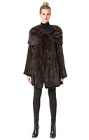 Belle Fare Knitted Mink Lined Coat With Oversized Collar