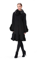 Belle Fare Cashmere Swing Coat With Mink Trim
