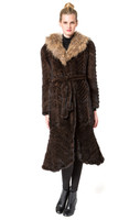 Belle Fare Knitted Mink Fitted Coat With Dyed Raccoon Collar