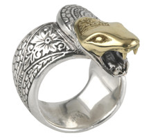 Konstantino Sterling Silver & 18k Gold Open Mouth Serpent Ring