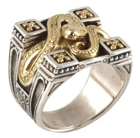 Konstantino Sterling Silver & 18k Gold Bordered Serpent Ring