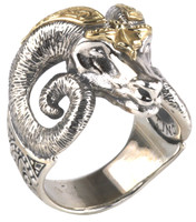 Konstantino Sterling Silver & 18k Gold Large Horn Ram Ring