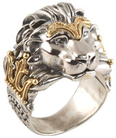 Konstantino Sterling Silver & 18k Gold King Lion Ring