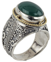 Konstantino Sterling Silver & 18k Gold Oval Green Agate Stone Ring