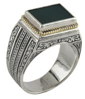 Konstantino Sterling Silver & 18k Gold Rectangle Ring Green Agate Stone Ring