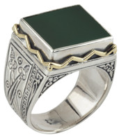 Konstantino Sterling Silver & 18k Gold Square Green Agate Stone Ring