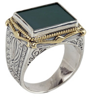 Konstantino Sterling Silver & 18k Gold Rectangle Green Agate Stone Ring