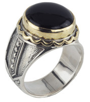 Konstantino Sterling Silver & 18k Gold Round Black Onyx Stone Ring