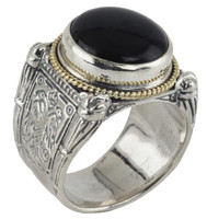 Konstantino Sterling Silver & 18k Gold Round/ Boxed Black Onyx Stone Ring
