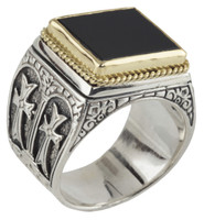 Konstantino Sterling Silver & 18k Gold Side Cross/Black Onyx Stone Ring