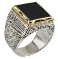 Konstantino Sterling Silver & 18k Gold Black Onyx Stone Ring