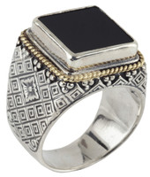 Konstantino Sterling Silver & 18k Gold Square Black Onyx Stone Ring