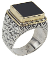 Konstantino Sterling Silver & 18k Gold Bordered Square Black Onyx Stone Ring