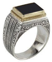 Konstantino Sterling Silver & 18k Gold Rectangle Black Onyx Stone Ring
