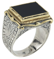 Konstantino Sterling Silver & 18k Gold Bordered Rectangle Black Onyx Stone Ring
