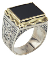Konstantino Sterling Silver & 18k Gold Wide Bordered Rectangle Black Onyx Stone Ring