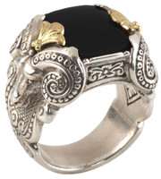 Konstantino Sterling Silver & 18k Gold Black Onyx Stone Serpent Ring