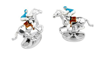 Deakin & Francis Blue and White Horse & Jockey Cufflinks