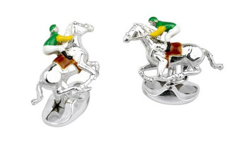 Deakin & Francis Green and Yellow Horse & Jockey Cufflinks