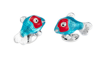 Deakin & Francis Blue and Red Tropical Fish Cufflinks
