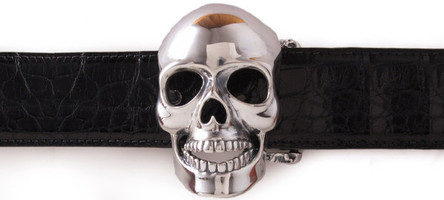 Jeff Deegan Sterling Silver Skull Buckle