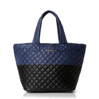 MZ Wallace Black & Navy Oxford Medium Metro Tote
