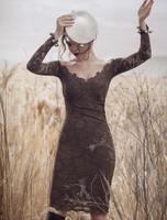 Olvi's Trend Brown Lace Long Sleeve V-Neck Low Back Dress