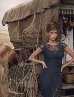 Olvi's Trend Lace Short Sleeve Sheer Lace V-Neck Navy Dress