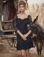 Olvi's Trend Lace 3/4 Sleeve Sheer Lace Boat Neck Navy Dress