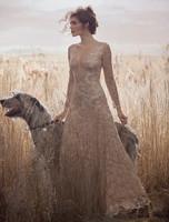 Olvi's Trend Lace Long Sleeve Sheer Lace Low Cut Neck Blush Dress