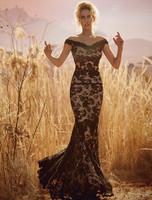 Olvi's Trend Lace Sheer Lace Short Sleeve Off The Shoulder Black Dress